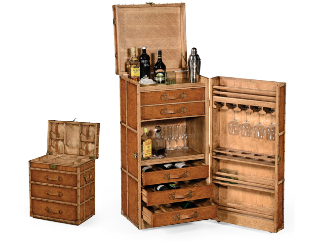 Inspired By Por Trunks From Early 20th Century Britain The Wine Cabinet In Leather And Oak Looks Like An Ordinary Trunk But Reveals