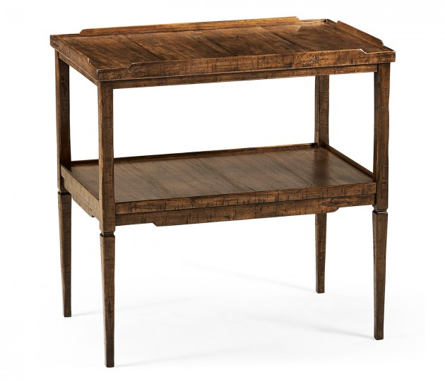 Rectangular Country Walnut Side Table with Rails & Undertier