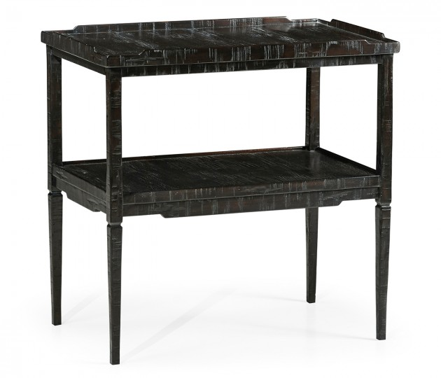 Rectangular Dark Ale Side Table with Rails & Undertier
