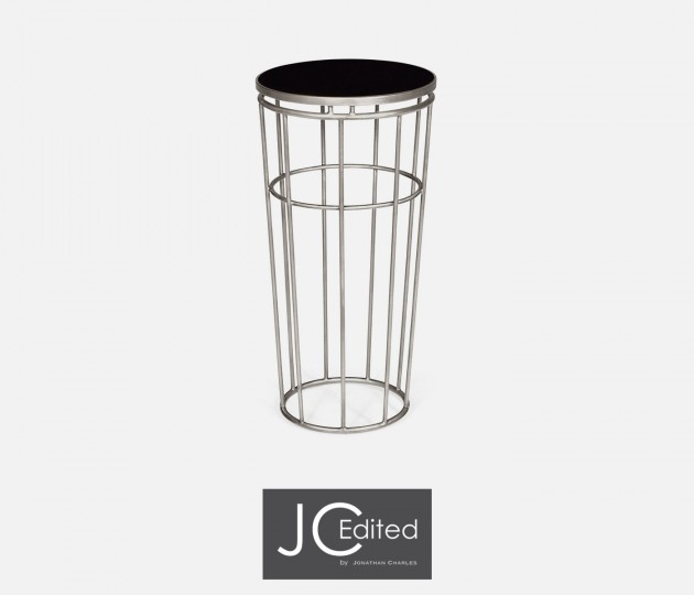 Silver Iron Round End Table with A Black Glass Top