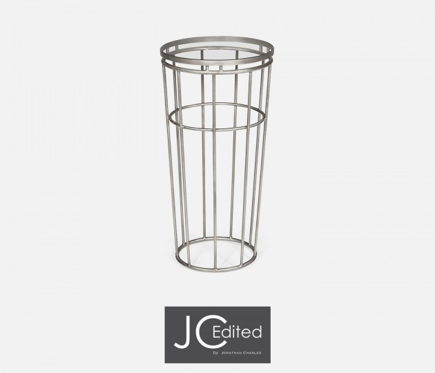 Silver Iron Round End Table with A Clear Glass Top