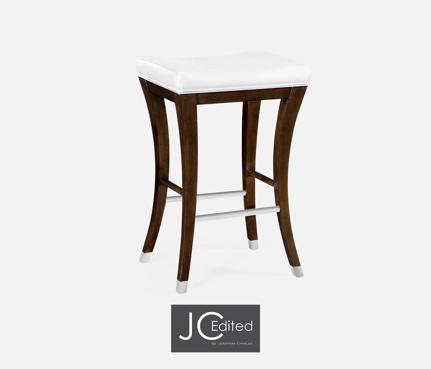 Fabulous American Walnut Counter Stool Upholstered In Com Inzonedesignstudio Interior Chair Design Inzonedesignstudiocom