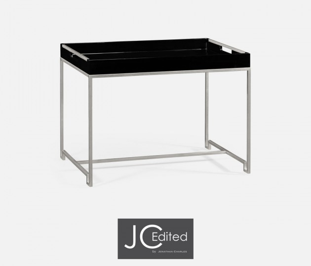 Silver Iron Tray Table in Smoky Black Top