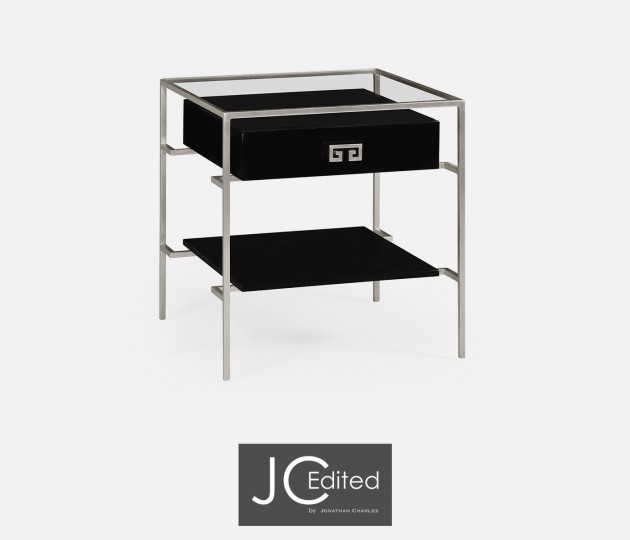 Silver Iron Side Table in Smoky Black
