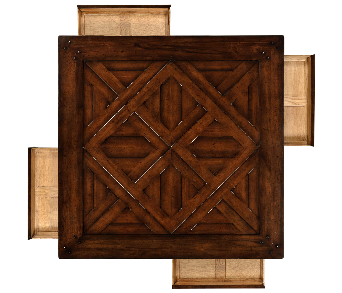 square parquet topped coffee table