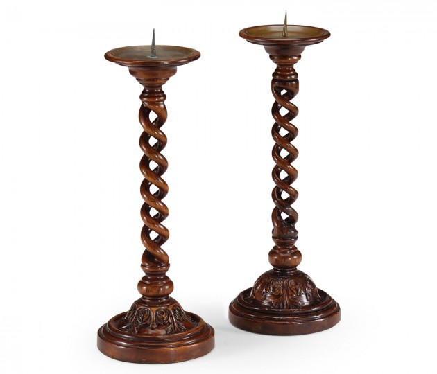 Pair of Open Barley Twist Walnut Candlesticks