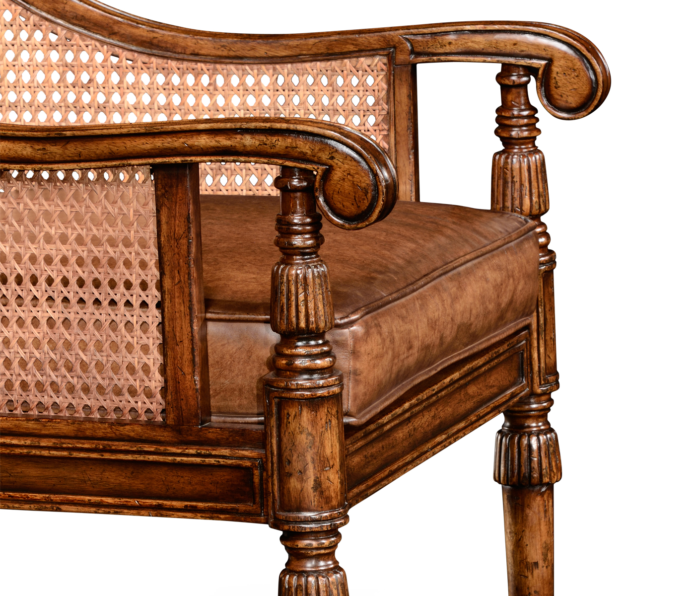 - Caned Bergere Chair (Walnut) In Medium Antique Chestnut Leather