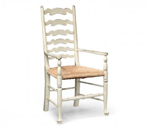 White Painted Ladder Back Arm Chair