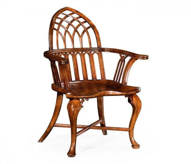 Gothic Windsor Walnut Armchair