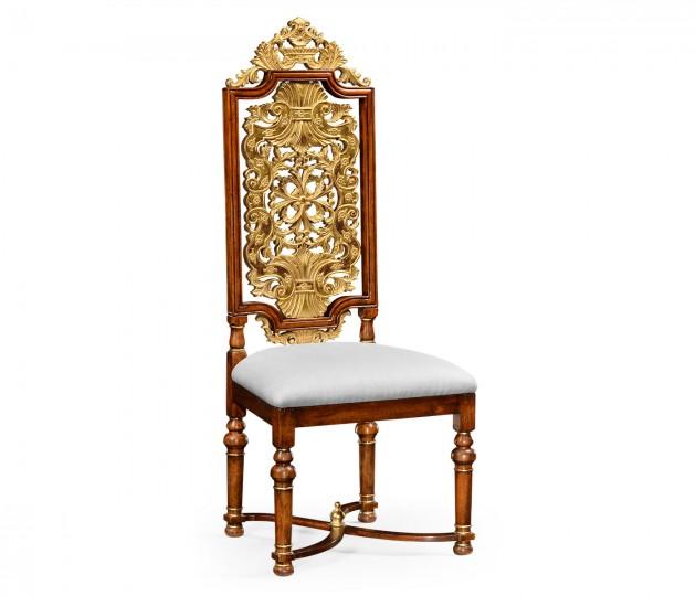 Jacobean Style Gilt Walnut Side Chair