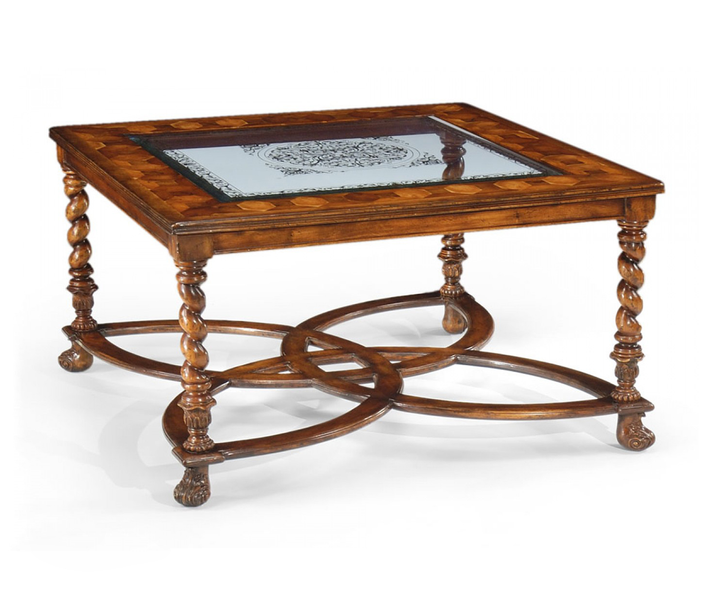 Square oyster eglomise coffee table 40quot for 40 x 40 square coffee table