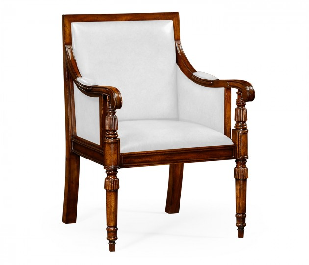 Leather Bergere Chair with Medium Antique Chestnut Leather