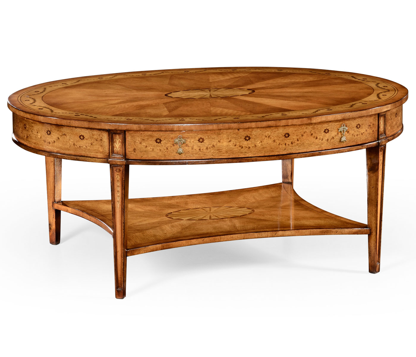 Oval Espresso Coffee Table: Sheraton Satinwood Oval Coffee Table