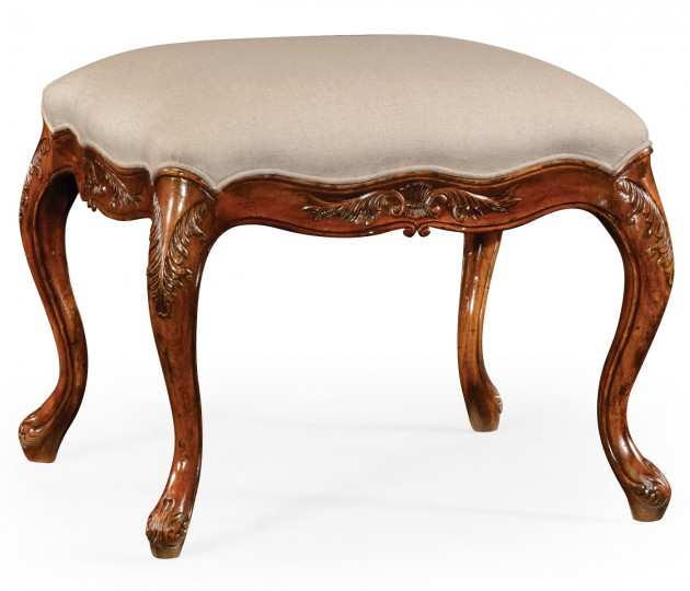 Large French Provincial Walnut Footstool