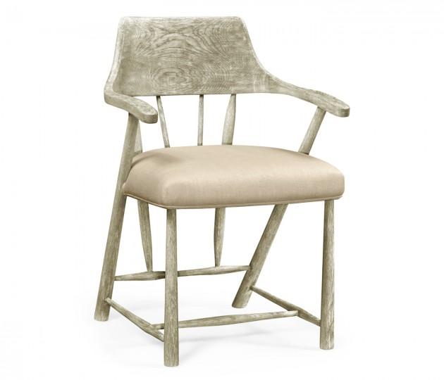 Grey Oak Dining Armchair with Fabric Seat, Upholstered in MAZO