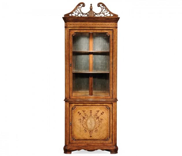 Satinwood Glazed Corner Cabinet