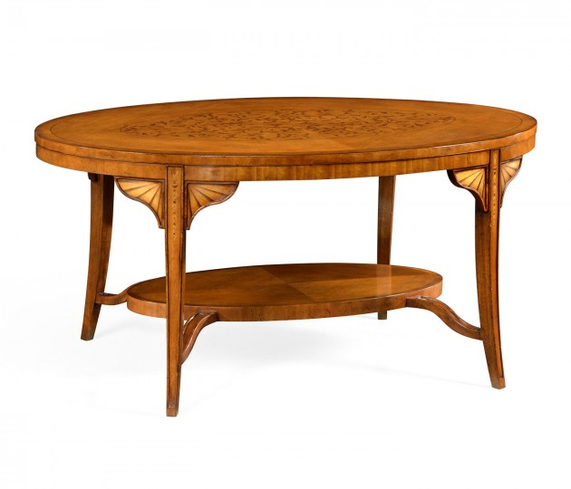 Marquetry Inlaid Satinwood Coffee Table