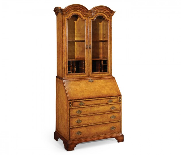 Queen Anne Light Walnut Bureau Cabinet with Glass Doors