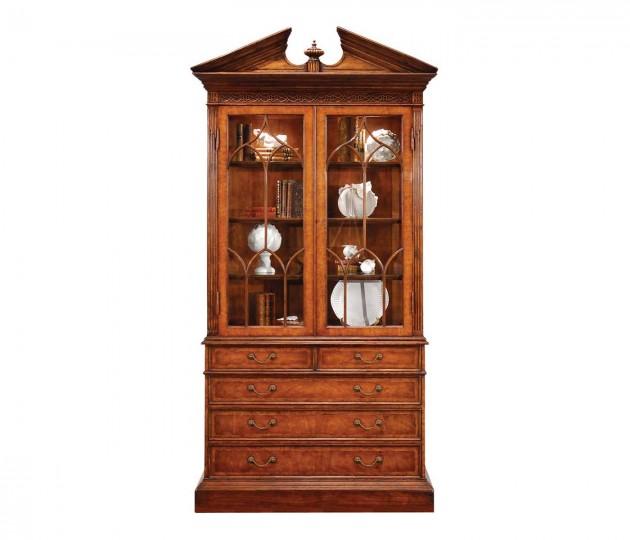 Walnut Glazed Display Cabinet with Drawers