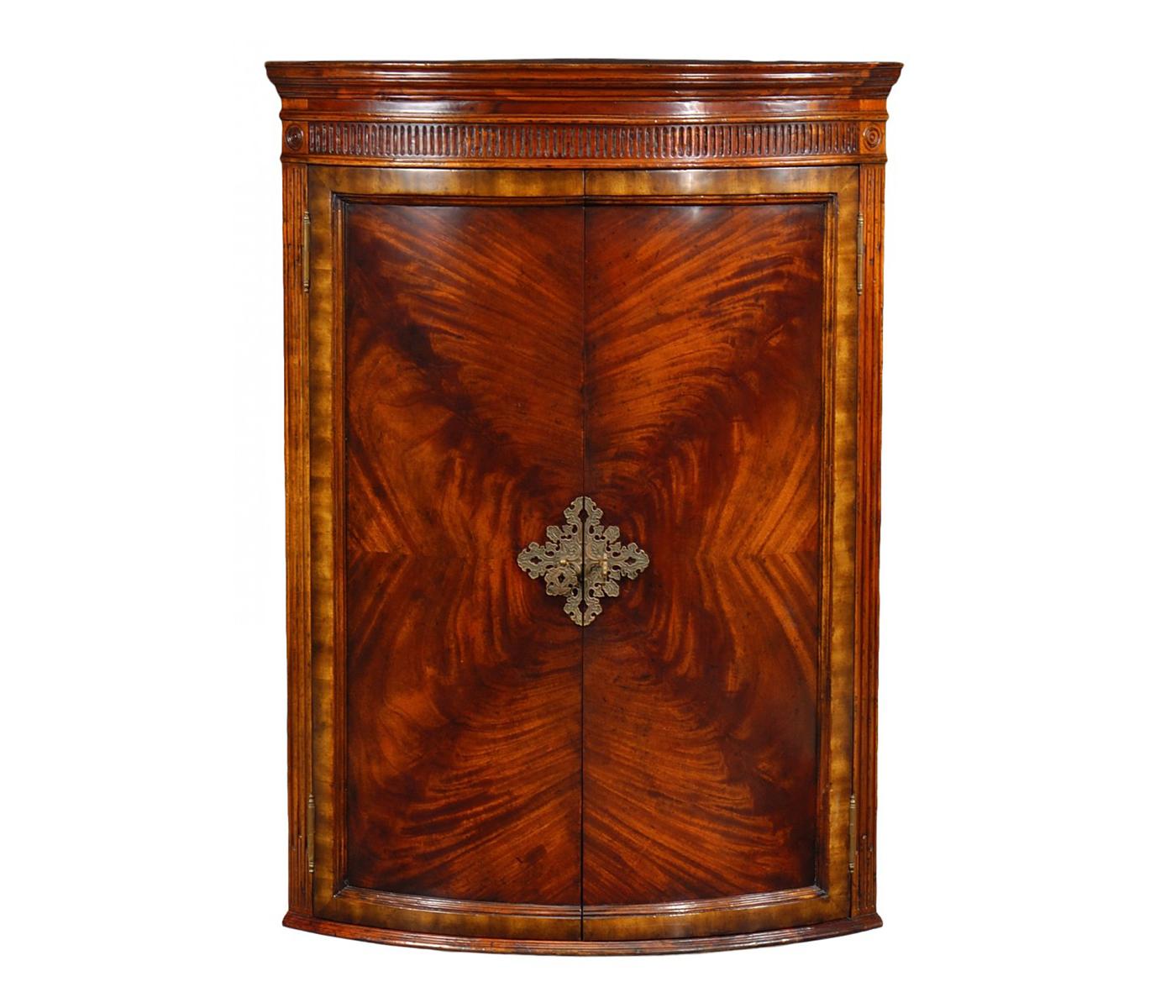 Hanging Semi Circular Mahogany Cabinet