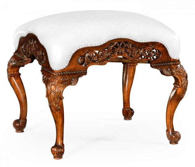 Carved & Pierced Walnut Footstool - COM