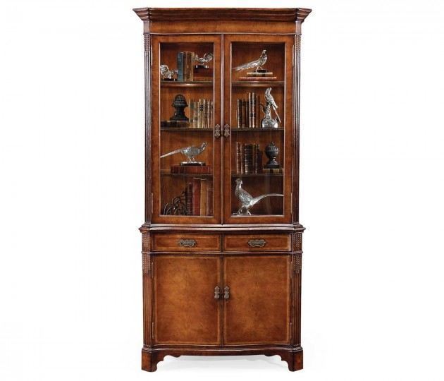 Serpentine Walnut China Cabinet