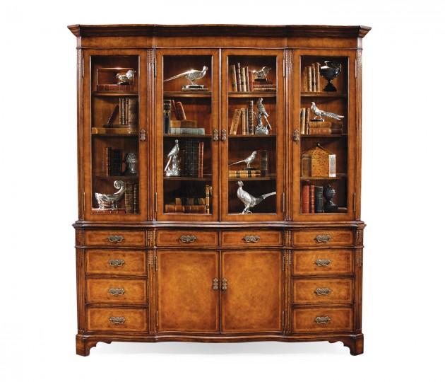 Serpentine Architrave Walnut China Cabinet