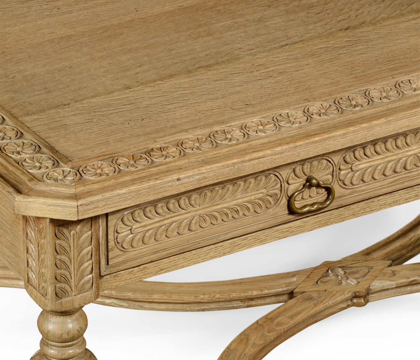 Natural oak chip carved rectangular coffee table