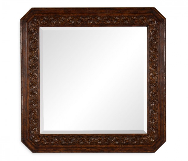 Dark Oak Square Mirror with Carved Rosettes