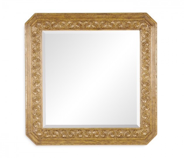 Natural Oak Square Mirror with Carved Rosettes