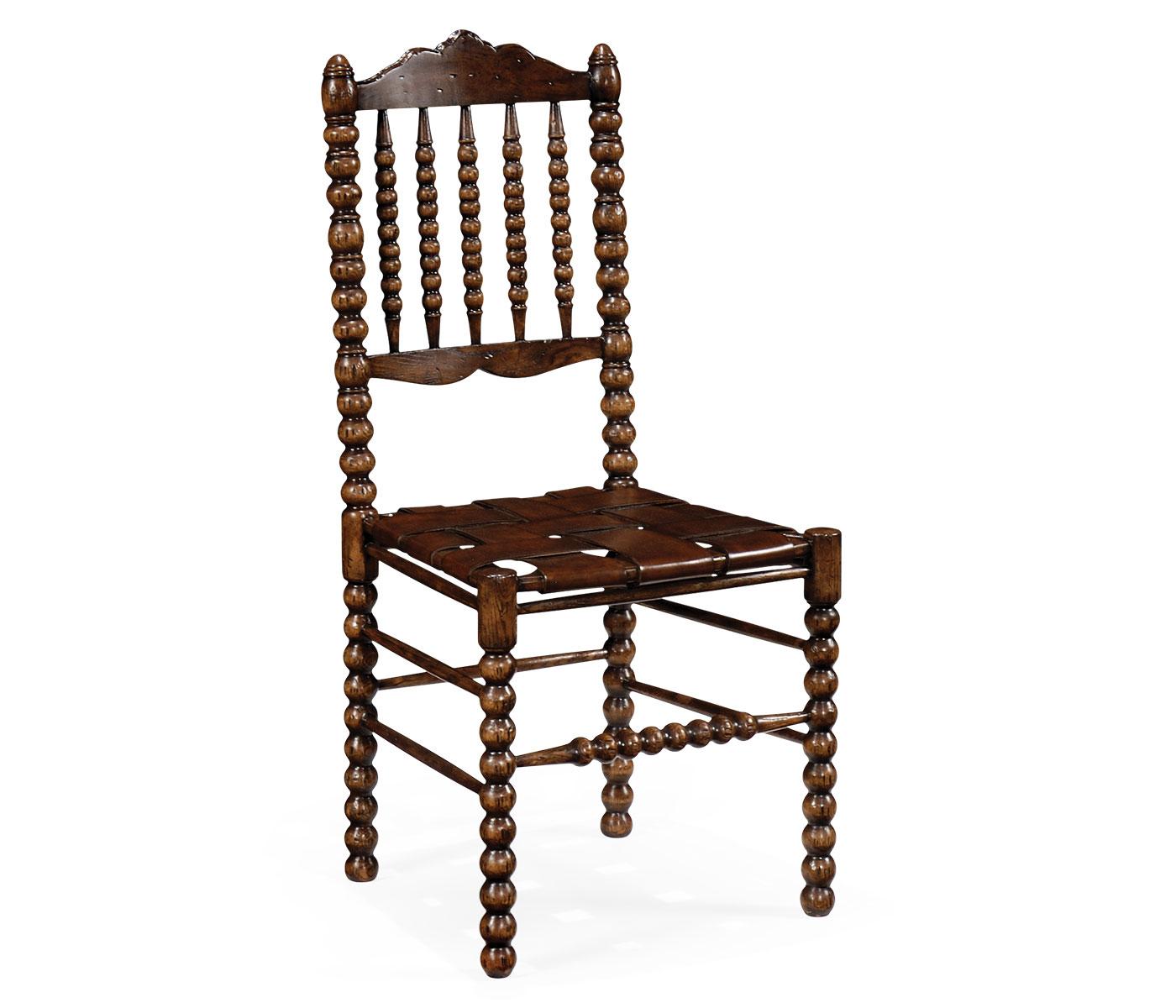 bobbin dark oak side chair with medium antique chestnut leather seat