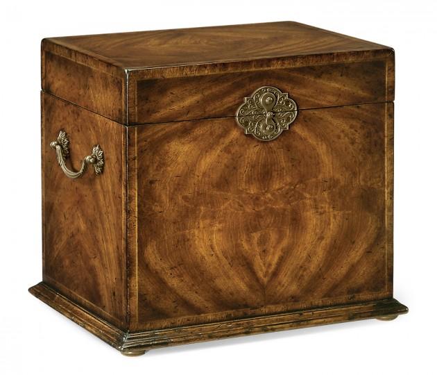 Tall Square Crotch Walnut Jewellery Box