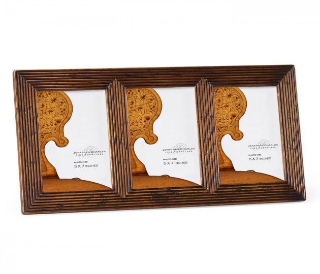 Triple walnut ribbed picture frame 5 x7 for Sideboard x7