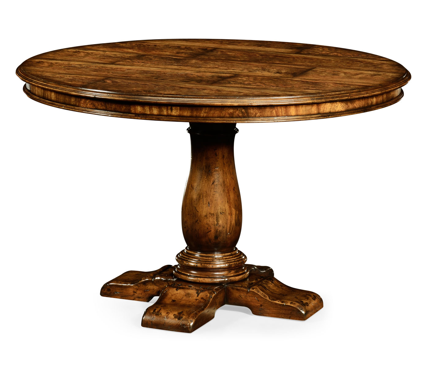 48 distressed crotch walnut pedestal table for Distressed round dining table