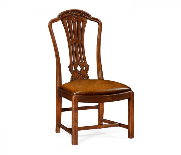 Mahogany Pierced Splat Back Side Chair with Medium Antique Chestnut Leather