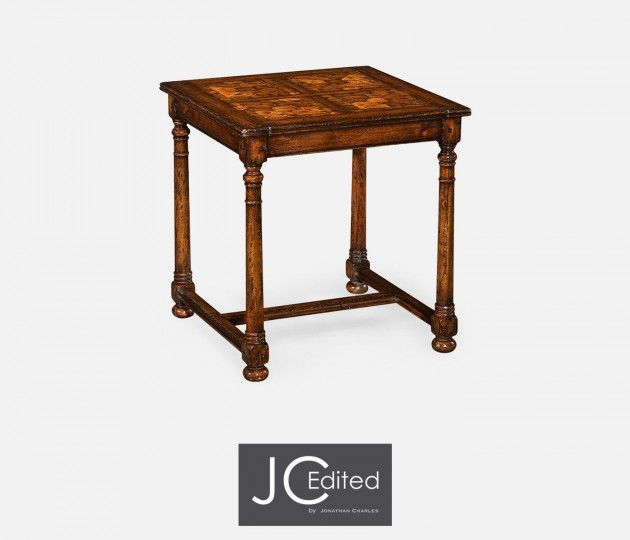 Walnut Square Oyster Parquet Side Table