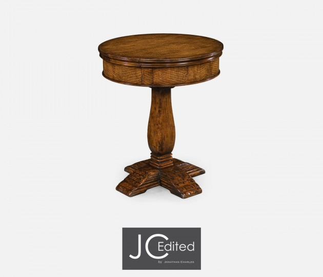 walnut round side table with drawer