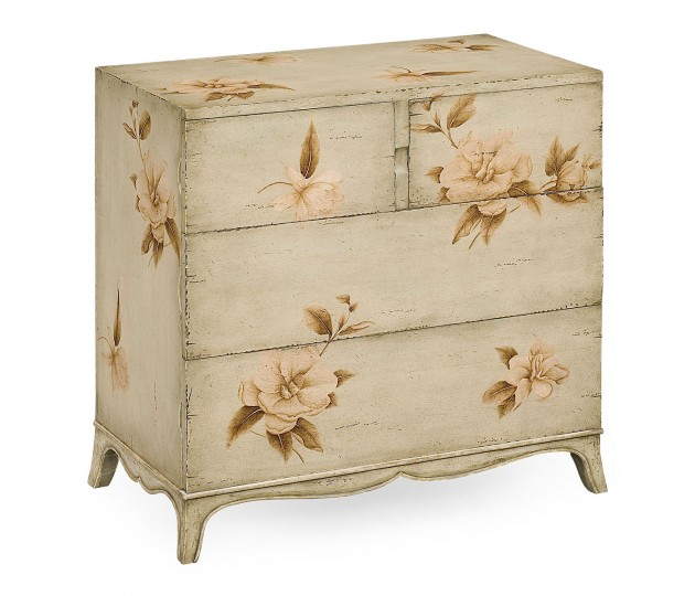 Paint antique olive floral chest (Small)