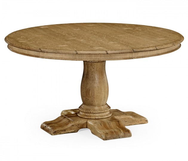 54 Round To Oval Natural Oak Dining Table
