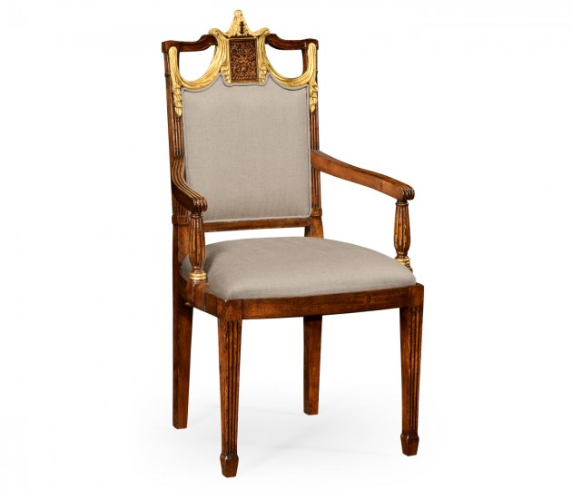 Neo-Classical Dining Chair with Gilded Swag Back (Arm)