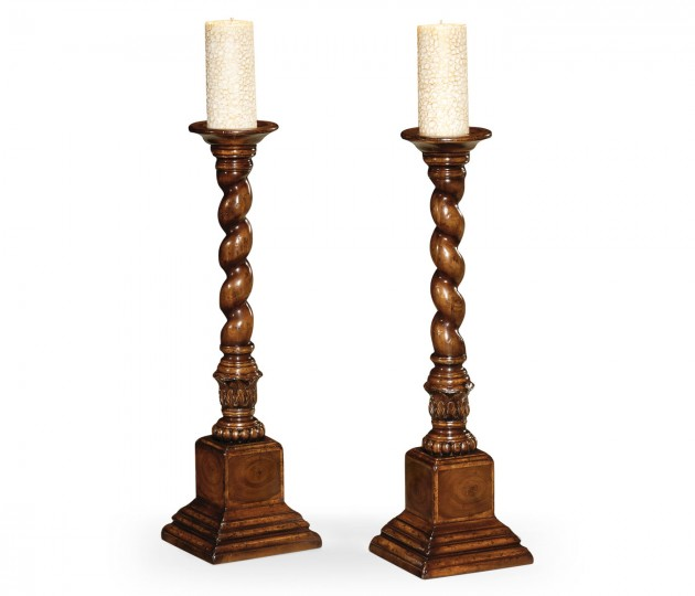 Pair of Tall Walnut & Oyster Candlesticks