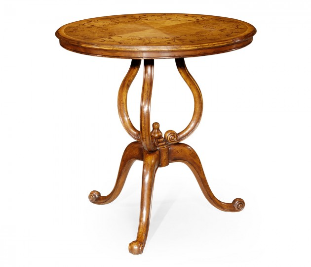 Walnut Lamp Table with Satinwood Inlaid Top