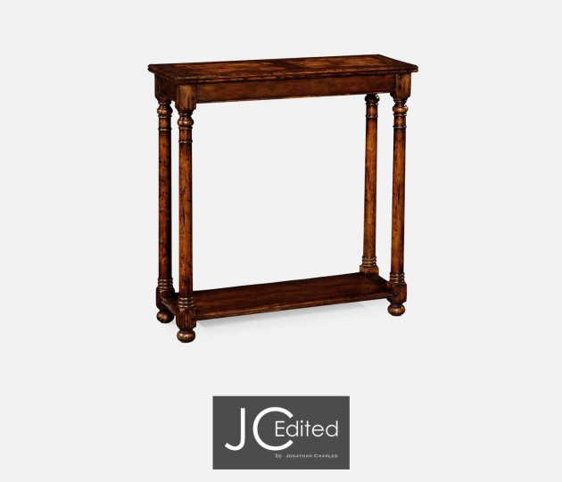 Small Walnut Oyster Parquet Console