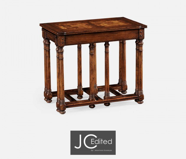 Walnut Oyster Parquet Nest of Tables