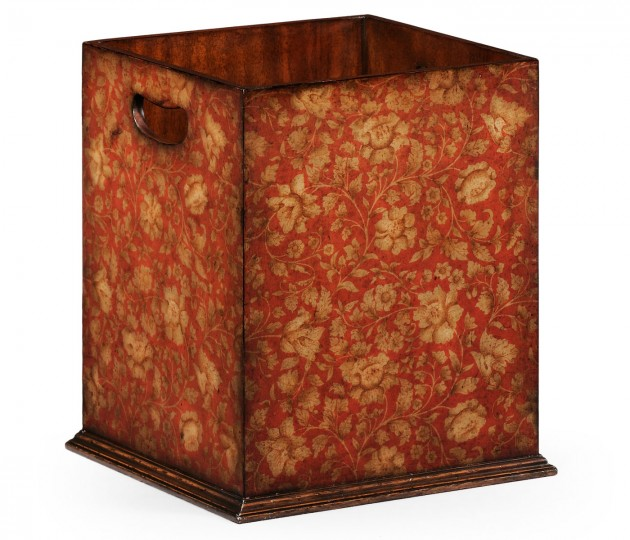 Square Red Chinoiserie Waste Basket