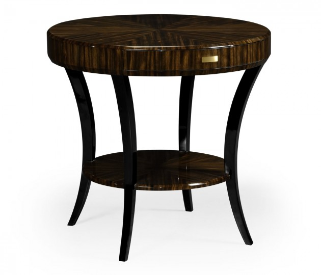 Round Art Deco Macassar Ebony High Lustre Side Table with Drawer