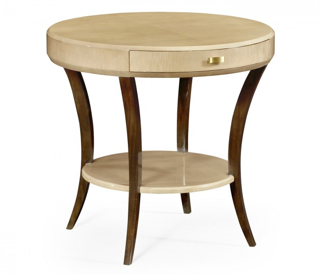 Art Deco Round Side Table with Drawer