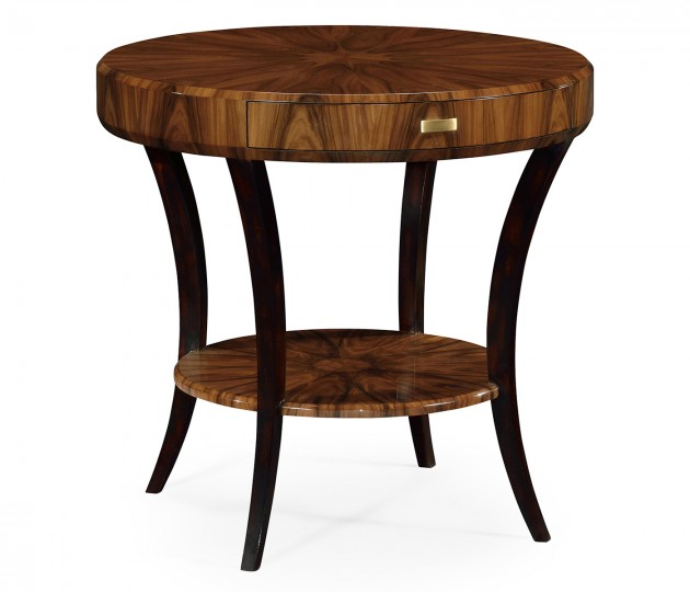 Art Deco Satin Round Side Table with Drawer