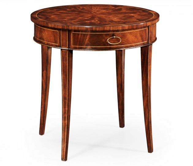 Round Mahogany Side Table Fine Stringing