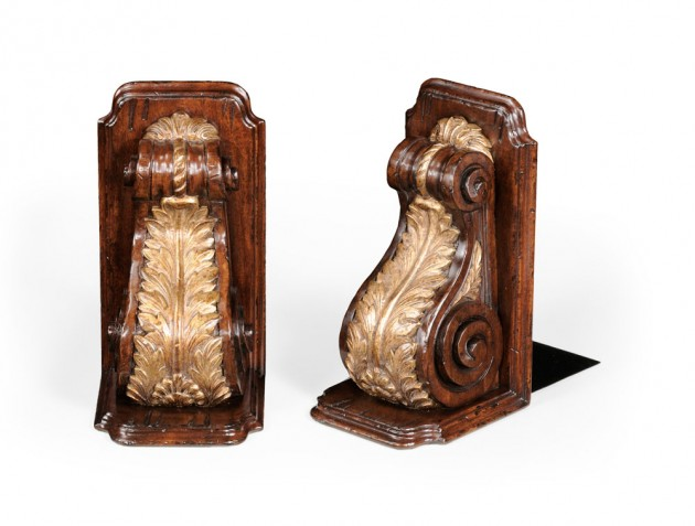 Pair of Gilded Bracket & Walnut Bookends